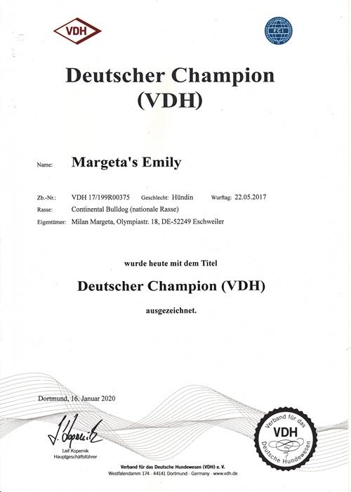 Champion Margeta's Emily